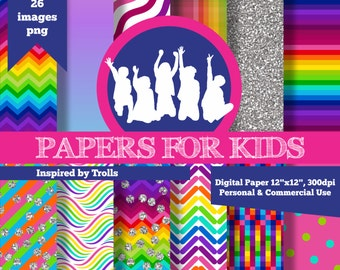 Digital Papers, Trolls, Kids, Invitation, Background, Birthday, Clipart. Papers for Kids