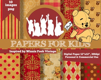 Digital Papers, Winnie Pooh Vintage , Kids, Invitation, Background, Birthday, Clipart, Papers for kids