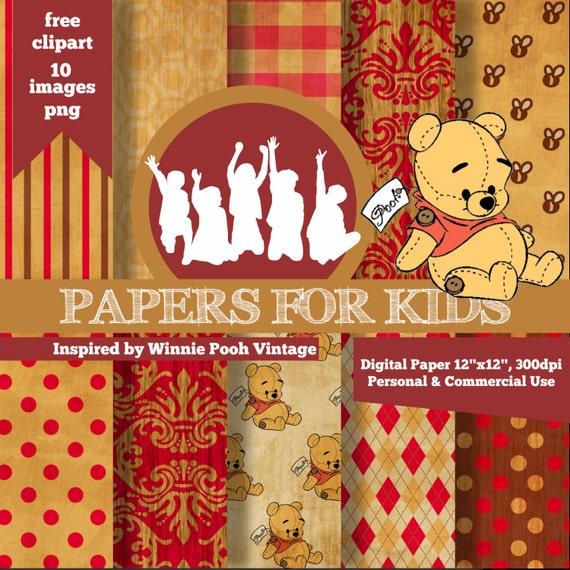 digital papers winnie pooh vintage kids invitation