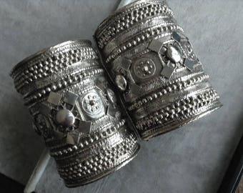 Ethiopian/Yemeni Vintage set of RashAida cuffs. Good Silver.Rare. Dowry cuffs. Ethiopian collectables.Ethnic jewelry. Boho jewelry.