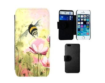Wallet case iPhone SE 8 7 6 6S Plus, X 5S 5C 4S 5 4, Samsung Galaxy Wallet S8 Plus S7 S6 Edge, S5 S4 Mini, floral bee phone case gifts. F301
