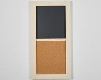 "Corkboard and Chalkboard Combination | Corkboard | Chalkboard | Message Board | Perfect for Home or Business | 12"" x 24"""