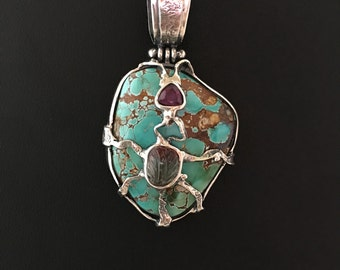 UNIQUE ROYSTON TURQUOISE Pendant, Watermelon Tourmaline PendantHandcrafted Pendant, Gemstone Pendant, Artisan Jewelry, 925 Sterling Silver
