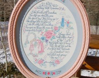 Walking With Grandma Homco Framed Poem Pink 1985