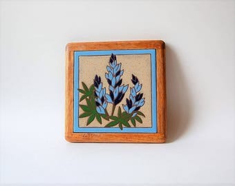 Blue Lupine  Porcelain Tile Trivet Framed