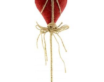 "15"" Natural Texture Heart Pick/Wreath Supplies/Valentines Day Decor/Heart Wreath Enhancement/HV1306"