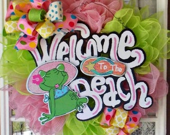 Welcome To The Beach Wreath/Beach Wreath/Frog Beach Wreath/Frog Wreath/Welcome Beach Wreath/Beach Decor/Shore House Wreath/Summer Wreath