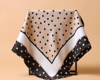 Quality vintage elegant spots print 100% twill silk scarf 65cmx 65c