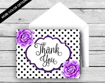 THANK YOU Note Card Set - Black & White Dot Purple Peonies, Stationery, Printed Stationery, Thank You Cards, Polka Dots