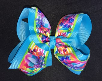 Turquoise Trolls Hair Bow - 5 inches wide Printed Hair Bow - French Barrette backing