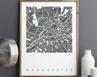 Map Art Print, MANCHESTER MAP PRINT, Travel Print, City Maps, City Print, Limited Edition Print, Wall Art Prints, Wall Print, Giclee Print