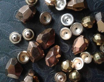 Unique Gold Copper Colored Beads Unusual Salvaged Bead Lot Bead Caps Destash Supply Lot