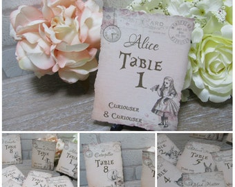 8 Postcard Alice In Wonderland Tattered Edge Table Number Name Cards Decoration,Wedding,Party,