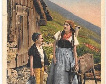 Swiss Farm Boy & Girl Tending a Goat, Switzerland, Unused Vintage 1920's Color Postcard, Edition Photoglob, Zurich