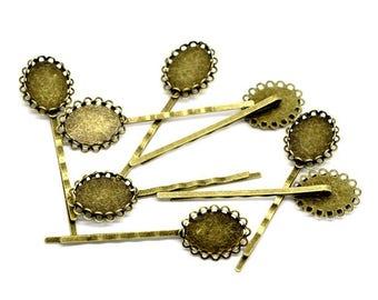 10 pliers set Cabochon 18x13mm Bronze strips