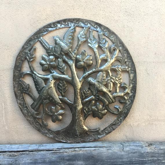 "Garden Tree of Life Art , Metal Wall art from Recycled Metal Steel Barrel 14"" X 14"""