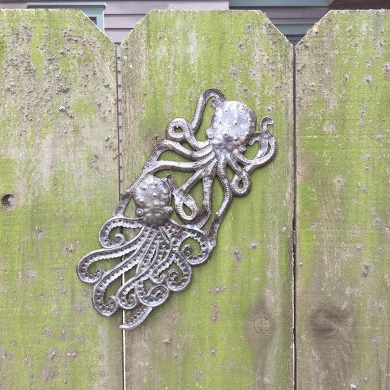 """Handmade Octopus, Recycled Metal Ocean Wall Art, Haitian Art indoor outdoor 7""""x 17"""""""