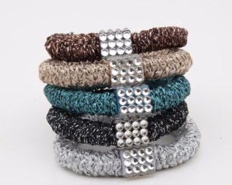 A Set of 5 Ponytail holders Chunky Thick Elastic Band Hair Elastics Women Basic Hair Accessories