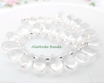 Czech Crystal Teardrop Beads (12X6MM) Clear Fire Polished Teardrops (25)