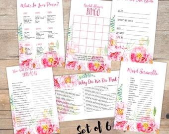 bridal shower games pack, wedding shower game package, bachelorette party games, hen party, printable, instant download, bundle, set - br57