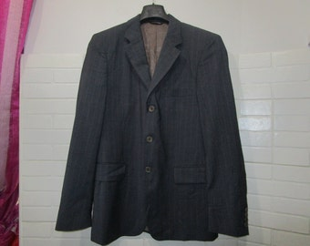 gianni versace jacket vintage man gray pinstripe wool 100% original virgin tg 48