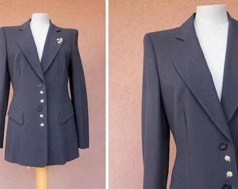 Escada 1980's Wool Blazer Jacket - 80's Navy Blue embroidered Escada Blazer - Size S