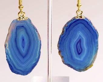 Plain Blue Agate Slice Earrings w/ Gold Plated Earwire (AE21BT)