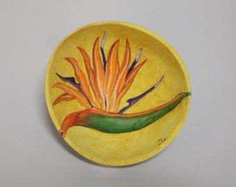 Coconut Painting-Bird Of Paradise Flower