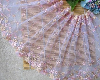 2 Yards Lace Trim Floral Embroidered Purple Tulle Lace 8.26 Inches Wide High Quality YL464