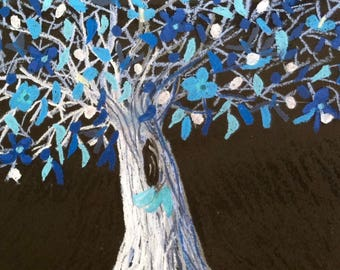 Greeting cards, oil pastel, original artwork, 5x7, tree, leaves, blue, flowers, thank you, hello, birthday, friend, sympathy, get well