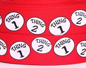 "Thing 1 Thing 2 Grosgrain Ribbon - 7/8"" Thing 1 Thing 2 Ribbon - 3 yards Dr Seuss Thing 1 Thing 2 Grosgrain Ribbon - Dr Seuss Ribbon"