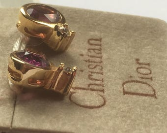 Vintage Christian Dior Simulated Amethyst Glass Stone and Clear Glass Rhinestones Gold Tone Metal Stud Earrings/Crystal Earrings/1960s