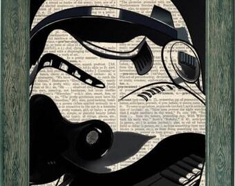 Star Wars stormtrooper art print on vintage dictionary page, stormtrooper art, stormtrooper print, stormtrooper poster, stromtrooper decor