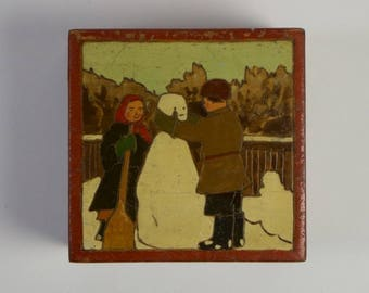 Vintage Russian Art Deco carved and painted snowman wooden box