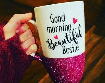Best Friend Coffee Mug // Best Friend Gift // Gift for Best Friend // Best Friend Coffee Cup //  Bestie Mug // 16oz Glitter Porcelain