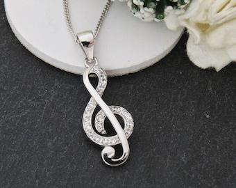 925 Sterling Silver Music Note Design, Musician Gift, Silver Music Note Necklace with Chain, Music Lover Pendant, Treble Clef Necklace