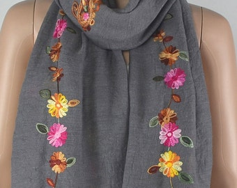 Dark grey cotton scarf, three-dimensional embroidery scarf, cotton scarf, shawl, women decorative accessories