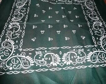 "Dark Green Polyester 22 x 21 1/2"" Bandana"