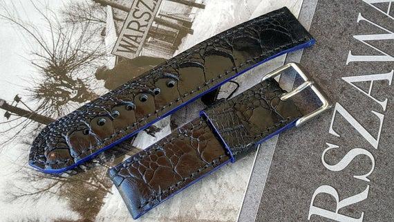 20mm Black Ostrich Leg Watch Strap