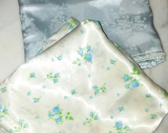 Two Satin Pillow Covers/Vintage/Zipper