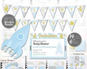 Rocket Party Printable - Space party decor for Boy Baby shower, boy gender reveal Party, Blue Baby shower decor, Rocket birthday, EDITABLE