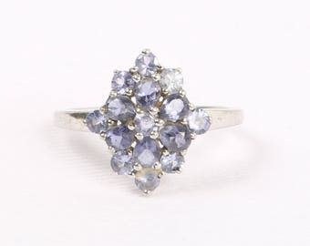 1990's Sterling Silver, Light and Dark Genuine Tanzanites Cluster Ring, Size 10, 17.5mm X 15.5mm, Excellent Cond., Marked VJL and .925.