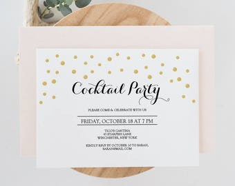 cocktail party invite template - printable casino night invitation holiday party instant
