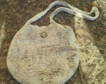Wet felted shoulder bag.