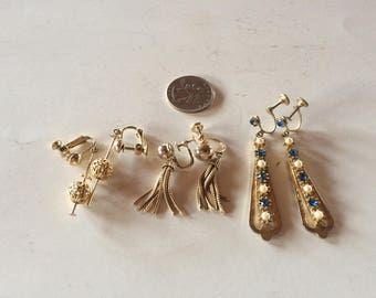 Three Vintage Pairs of Screw Back Earrings