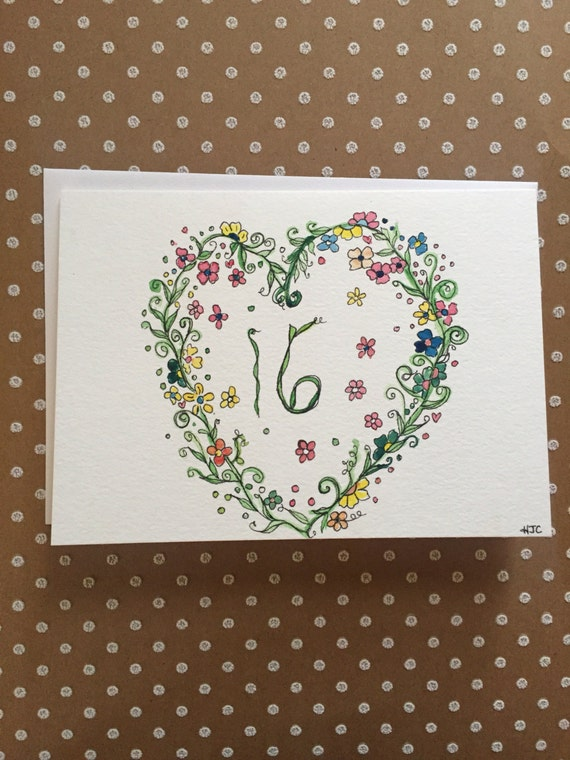 Sweet 16th Birthday Card, Hand Painted Birthday Card, Homemade 16th Birthday Card