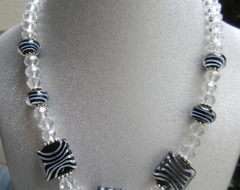 Zebra Patterned and Clear Glass Beaded Necklace
