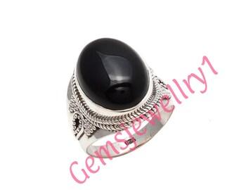 Black Onyx Ring~Silver Black Onyx Ring~Black Onyx Oval Ring~Black Onyx Statement Ring~Natural Onyx ,US Size 5 6 7 8 9 10 11 12 13 14   13