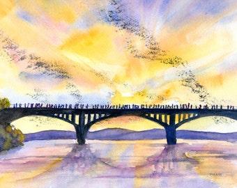 Austin Texas, skyline, ORIGINAL Watercolor, congress bridge bats, 9x12,  landscape painting, TX,  sunset sky, Austin bats, Town Lake