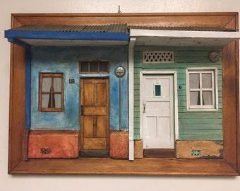 The House . 3 D Art Work.Framed Fine Art .Original Mixed Media Art